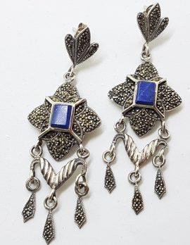 Sterling Silver Marcasite & Lapis Lazuli Long Drop Earrings