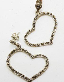 Sterling Silver Marcasite Large Heart Drop Earrings