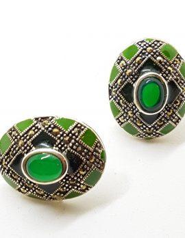 Sterling Silver Marcasite, Green Onyx & Emamel Large Oval Stud Earrings