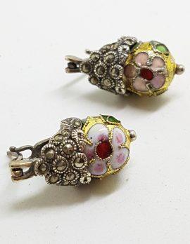 Sterling Silver Marcasite & Cloisonne Enamel Drop Earrings