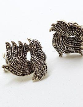 Sterling Silver Marcasite Bird Stud Earrings