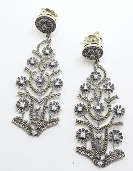 Stunning Sterling Silver Marcasite & Cubic Zirconia Very Long Drop Ornate Earrings