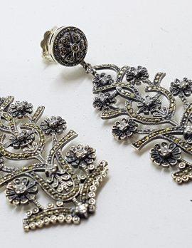 Stunning Sterling Silver Marcasite & Cubic Zirconia Very Long Drop Ornate Earrings