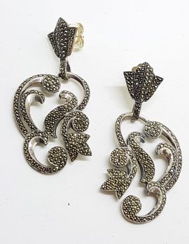 Stunning Sterling Silver Marcasite Large Ornate Drop Earrings
