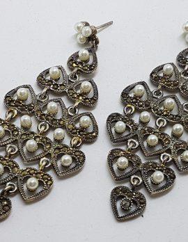 Sterling Silver Marcasite Large Ornate Drop Chandelier Earrings