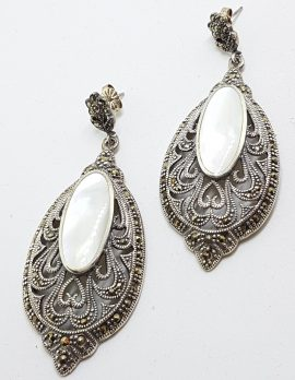 Sterling Silver Marcasite & Mother of Pearl Large Ornate Filigree Drop Earrings