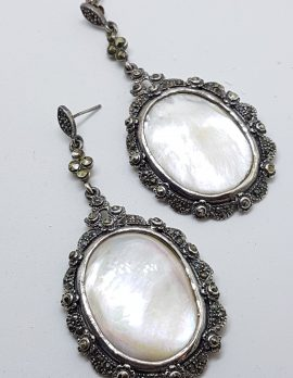 Sterling Silver Marcasite & Mother of Pearl Large & Long Oval Drop Earrings