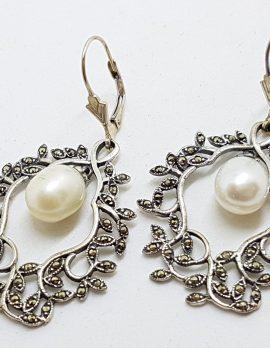 Sterling Silver Marcasite Pearl Large Ornate Drop Earrings