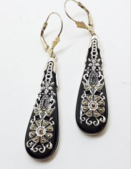 Sterling Silver Marcasite, Onyx and Garnet Large Ornate Drop Earrings