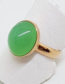 9ct Rose Gold Bezel Set Chrysoprase / Australian Jade Ring