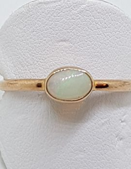 9ct Rose Gold Natural Oval Opal Ring - Stackable