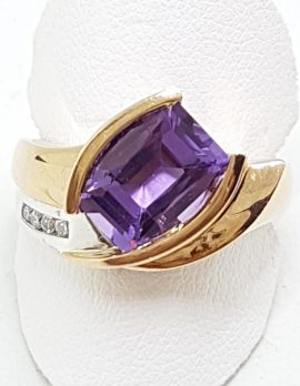 9ct Rose Gold Amethyst with Diamonds Ring