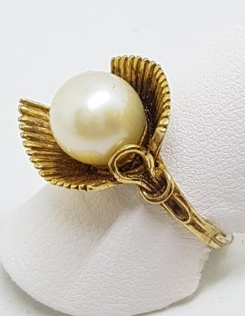 14ct Yellow Gold Large Unusual Pearl Ring