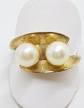 9ct Yellow Gold Two Pearl Unusual Shell Ring