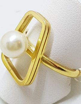 18ct Yellow Gold Large Unusual Pearl Ring