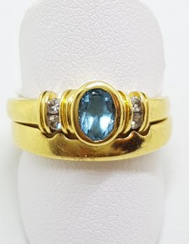 18ct Yellow Gold Oval Bezel Set Topaz & Diamond Wedding and Engagement Ring Set