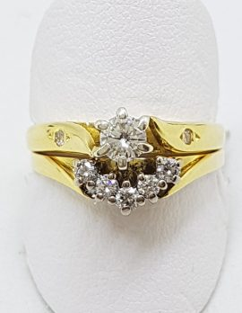 18ct Yellow Gold Diamond Wedding and Engagement Ring Set