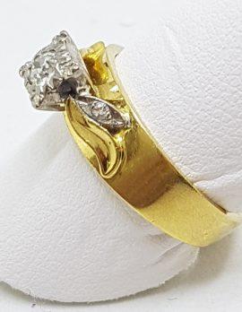 18ct Yellow Gold & Platinum Solitaire Diamond Ornate High Set Square Ring