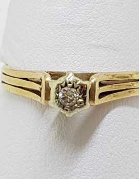 9ct Yellow Gold Solitaire Diamond High Set Ring