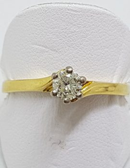 18ct Yellow Gold Claw Set Solitaire Diamond Engagement Ring