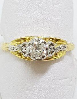 18ct Yellow Gold & Platinum Ornate Filigree Diamond Engagement Ring