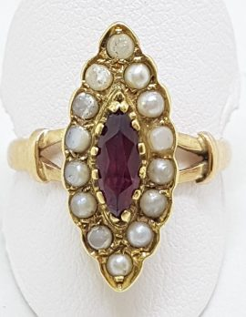 9ct Yellow Gold Marquis Shape Garnet & Seedpearl Ring