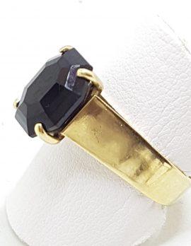 9ct Yellow Gold Large Octagonal Garnet High Set Ring
