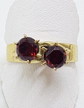 9ct Yellow Gold Toi et Moi Garnet Claw Set Ring