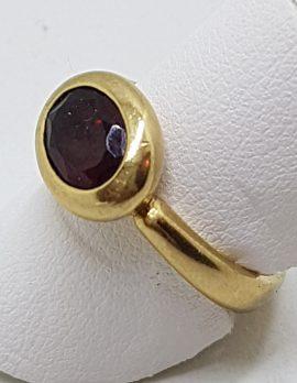 9ct Yellow Gold Oval Garnet Bezel Set Ring