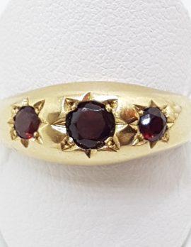 9ct Yellow Gold 3 Garnet Large Gypsy Band Ring