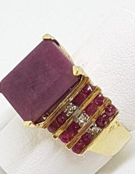 9ct Yellow Gold Large Rectangular Ruby Cluster Ring