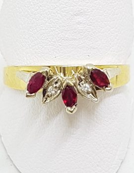 9ct Yellow Gold Natural Ruby & Diamond Curved Eternity/Wedding Ring