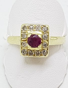 18ct Yellow Gold Natural Ruby & Diamond Square Cluster Ring