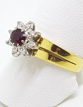 18ct Yellow Gold Natural Ruby & Diamond Daisy/Flower Cluster Ring