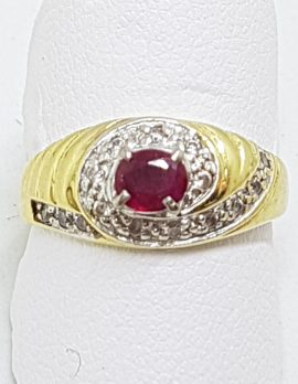 18ct Yellow Gold Natural Ruby & Cubic Zirconia Cluster Ring