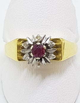 18ct Yellow Gold Natural Ruby & Diamond Cluster Ring