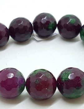 Faceted Ruby Zoisite Elastic Bead Bracelet
