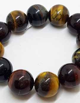 Large Round Tiger Eye Elastic Bead Bracelet