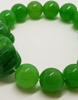 Carved Large Jade Elastic Bead Bracelet