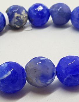Blue Agate Elastic Bead Bracelet