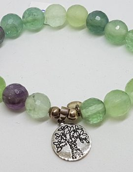 Sterling Silver Fluorite Bead Bracelet with Tree of Life Charm