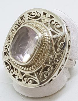 Sterling Silver Large Ornate / Filigree Rose Quartz Ring