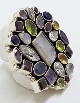 Sterling Silver Large Multi-Coloured Gemstones Cluster Ring