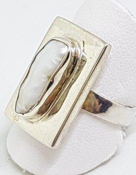 Sterling Silver Blister Pearl Rectangular Ring