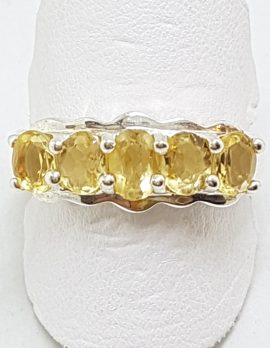 Sterling Silver Citrine Bridge Set Ring