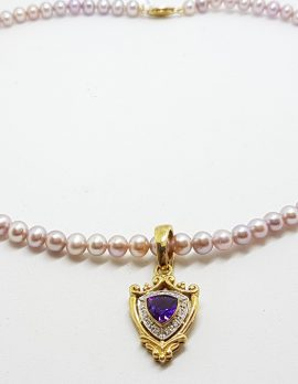 9ct Gold Shield Shape Amethyst surrounded by Diamonds Enhancer Pendant on Pearl Necklace