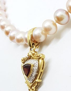 9ct Gold Shield Shape Garnet surrounded by Diamonds Enhancer Pendant on Pearl Necklace