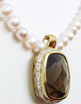9ct Gold Rectangular/Oblong Smokey Quartz surrounded by Diamonds Enhancer Pendant on Pearl Necklace