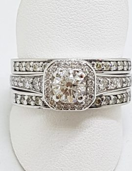 18ct White Gold Three Ring Diamond Engagement, Wedding, Eternity Ring Set - Square