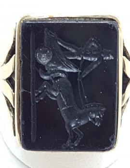 18ct Rose Gold Large Black Onyx Carved Rectangular Ring - Chariot Scene